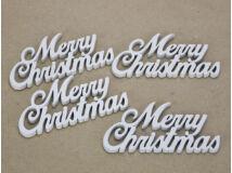 Merry Christmas felirat 10cm fehér 4db/csomag