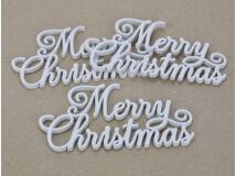 Merry Christmas felirat elegáns fehér 15cm 3db/csomag