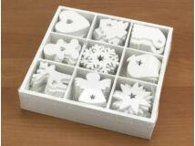 Dobozos karácsonyi díszek fehér 90db/doboz