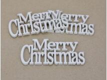 Merry Christmas felirat koszorúra fehér 14cm 3db/csomag