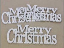 Merry Christmas felirat koszorúra fehér 21cm 3db/csomag