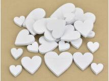 Fa szívek különböző méretben fehér 30db/csomag