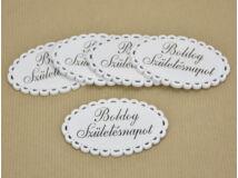 """Fa - """"Boldog születésnapot"""" csipkés ovál tábla fehér 5x8cm 5db/csomag"""