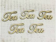 "Natúr fa - ""Tea"" felirat 4,8cm 5db/csomag"