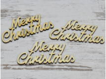 "Natúr fa - ""Merry Christmas"" felirat 9,5cm 3db/csomag"
