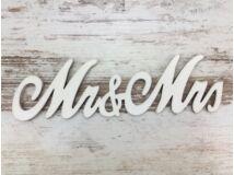 "Fa - ""Mr & Mrs"" irott felirat fehér 14,5cm"
