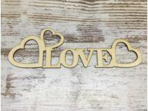 """Natúr fa - """"Love"""" felirat szívekkel 30cm"""
