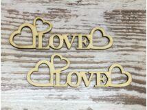 """Natúr fa - """"Love"""" felirat szívekkel 15cm 2db/csomag"""