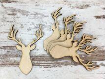 Natúr fa - Szarvas fej vadász 10cm 5db/csomag