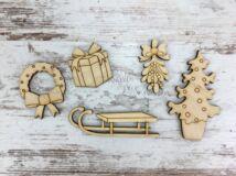 Natúr fa - Karácsonyi manó kellék szett 5db/csomag