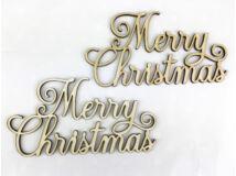 """Natúr fa - """"Merry Christmas"""" díszes felirat  2db/csomag"""