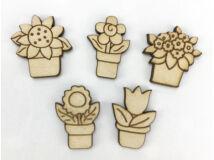 Natúr fa - Mini cserepes virágok 5db/csomag