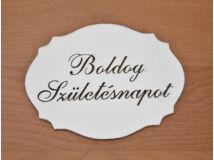 """Natúr fa - """"Boldog Születés napot"""" kiesős tábla fehér 7,5x10cm"""