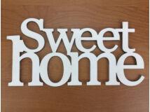 """Fa - """"Sweet home"""" felirat koszorúra fehér 11,5x20cm"""
