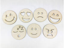 Natúr fa - Emoji fejek 8cm 7db/csomag