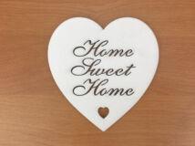 """Fa - """"Home Sweet Home"""" szív fehér 10cm"""