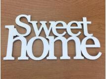 """Fa - """"Sweet Home"""" felirat koszorúra 7x14cm fehér"""