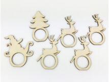 Natúr fa - Karácsonyi szalvéta gyűrű szett 6db/csomag