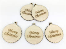 "Natúr fa - ""Merry Christmas"" fodros gömb nagy 5db/csomag"