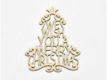 """Natúr fa - """"We wish you a ..."""" karácsonyfa koszorúra 20cm"""