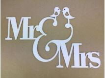 """Natúr fa - """"MR&MRS"""" madárkás felirat fehér 28x42cm"""