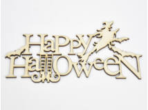 "Natúr fa - ""Happy Halloween"" felirat 20cm"