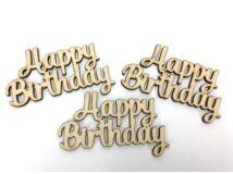"""Natúr fa - """" Happy Birthday """" felirat 6x10cm 3db/csomag"""