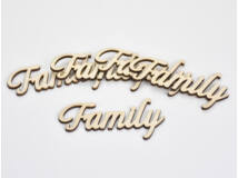 "Natúr fa - ""Family"" felirat 4x8,5cm 5db/csomag"