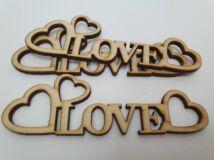 """Natúr fa - """"Love"""" felirat szívekkel 10cm 3db/csomag"""