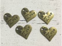 Szív Love felirattal 5db/csomag