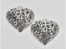 Medál - Áttört szív ezüst 2db/csomag