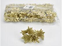 Mikulásvirágfej csillámos arany 6 fejes 24cs/csomag