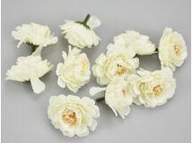 Fodros virágfej krémfehér 4cm 10db/csomag