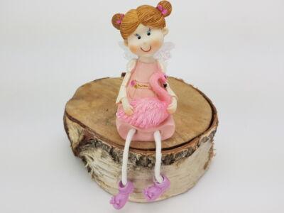 Lógólábú rózsaszín ruhás hárfázó angyalka