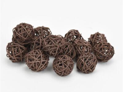 Vessző gömb barna 3cm 15db/csomag