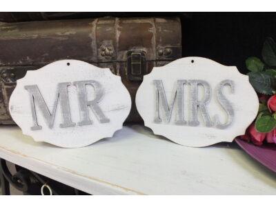 """Fa """"Mr & Mrs"""" vintage tábla fehér-szürke"""