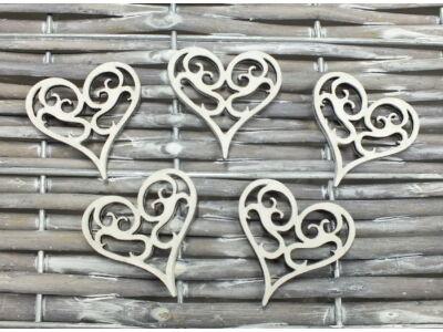 Vintage szív  fehér 5db/csomag