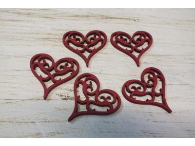 Vintage szív  4*4cm 5db Meggypiros