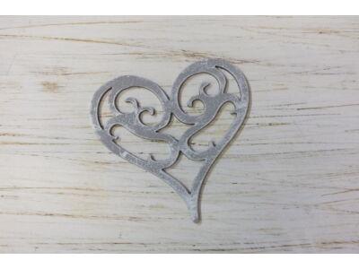 Fa vintage szív koptatott szürke 10cm