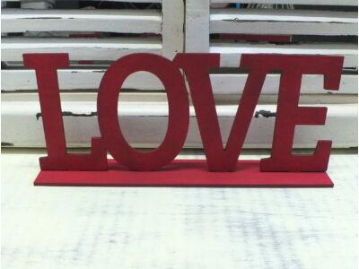 """Fa """"LOVE"""" felirat talppal meggypiros 25cm"""