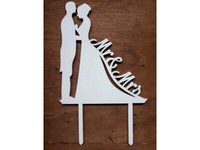 """Fa - Tortadísz """"Mr&Mrs"""" fehér  17cm"""