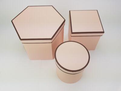 Hatszög & négyszög & kör alakú dobozok rózsaszín 3db/szett 24/#