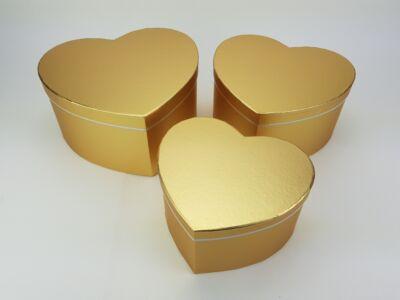 Szív alakú doboz - metálarany 3db/szett 24/#