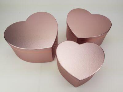 Szív alakú doboz - metálrózsaszín 3db/szett 24/#