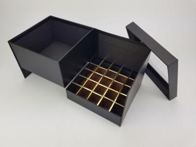 Virágbox és bonbon doboz tetővel - fekete 24/#