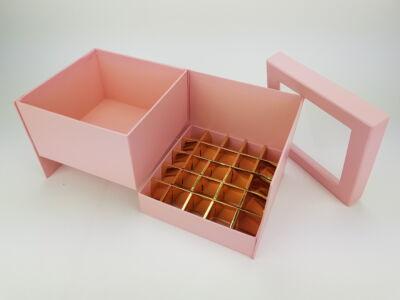 Virágbox és bonbon doboz tetővel - rózsaszín 24/#