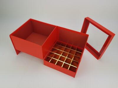 Virágbox és bonbon doboz tetővel - piros 24/#