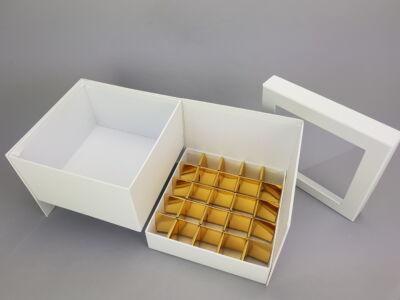 Virágbox és bonbon doboz tetővel - fehér 24/#