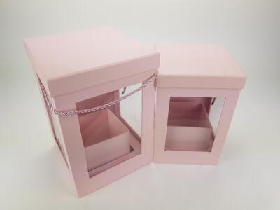 Kötél füles átlátszó oldalú doboz szett - rózsaszín 2db/szett 16db/#