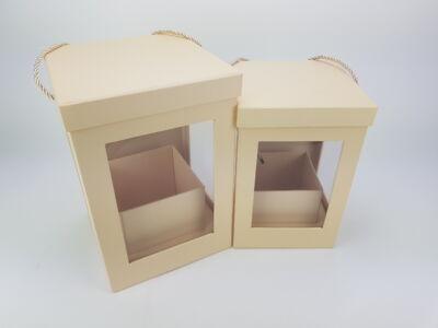 Kötél füles átlátszó oldalú doboz szett - natúr 2db/szett 16db/#